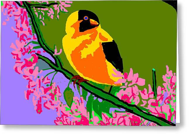 Yellow Bird And Flowerss Greeting Card by Anand Swaroop Manchiraju