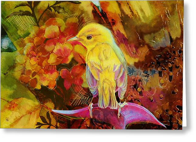 Yellow Bird Greeting Card by Catf