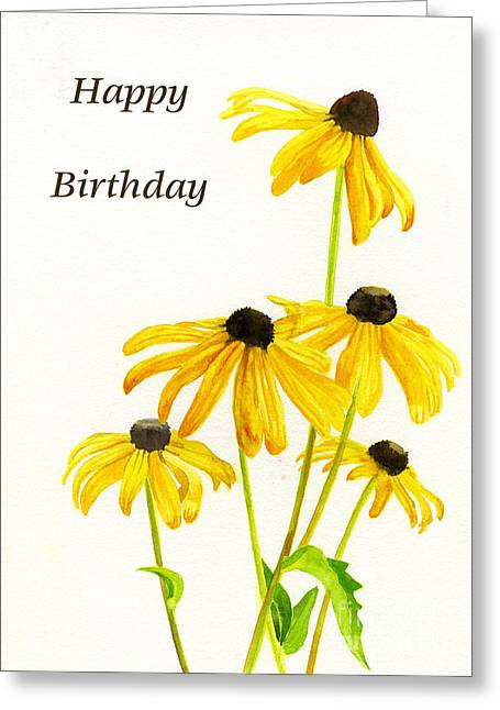 Yellow Black Eyed Susans Birthday Card Painting By Sharon Freeman