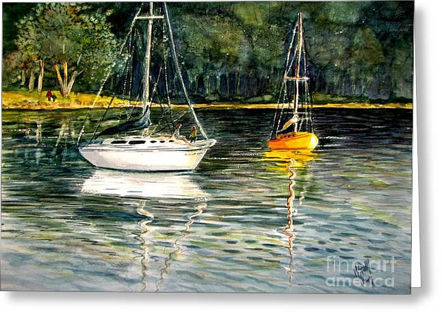 Yellow Boat Sister Bay Greeting Card by Marilyn Smith