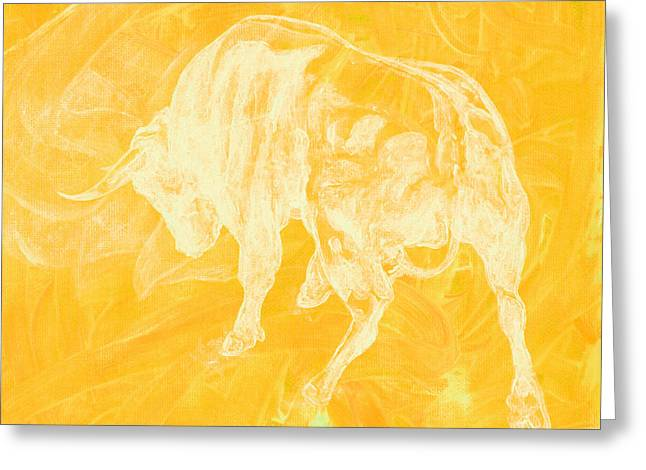 Yellow Bull Negative Greeting Card