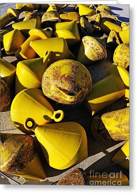 Yellow Buoy At Quay Greeting Card by Sami Sarkis