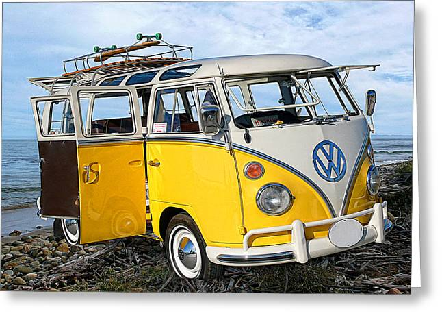 Yellow Bus At The Beach Greeting Card by Ron Regalado