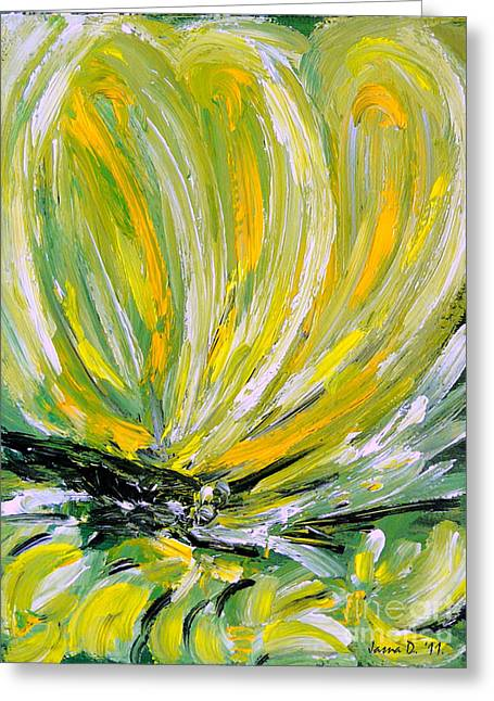 Greeting Card featuring the painting Yellow Butterfly by Jasna Dragun