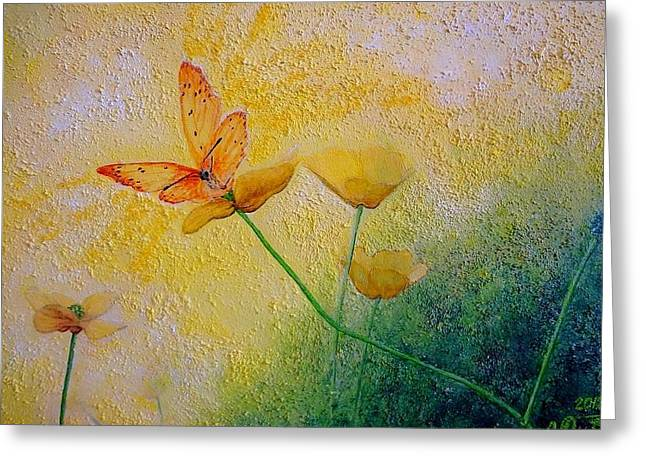 Yellow Butterfly Greeting Card by Svetla Dimitrova