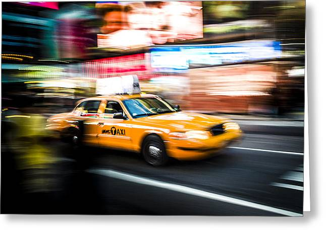 Yellow Cab Greeting Card by Chris Halford