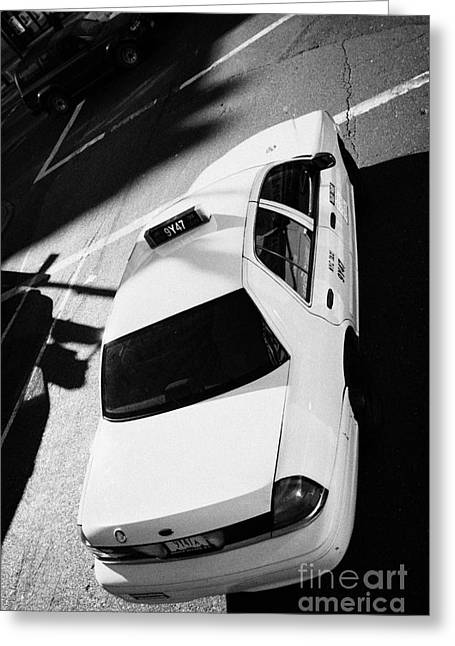 Yellow Cab From Above On Street New York Taxi City Usa Greeting Card by Joe Fox