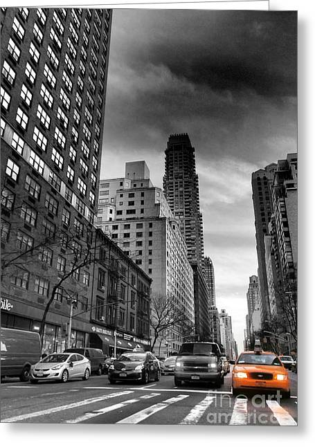 Yellow Cab One - New York City Street Scene Greeting Card
