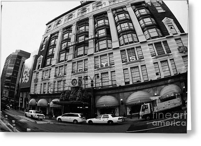 yellow cabs wait outside Macys at Broadway and 34th Street Herald Square new york Greeting Card by Joe Fox