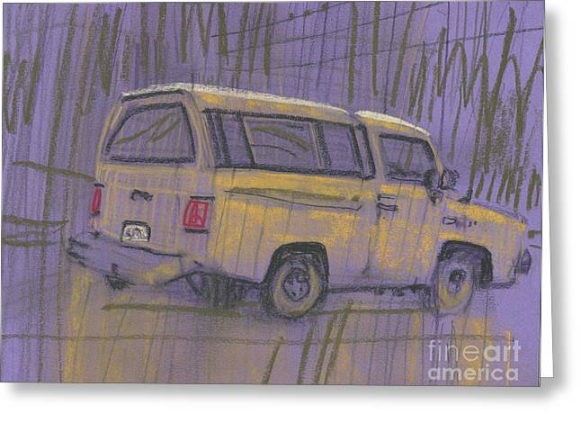 Greeting Card featuring the painting Yellow Camper by Donald Maier