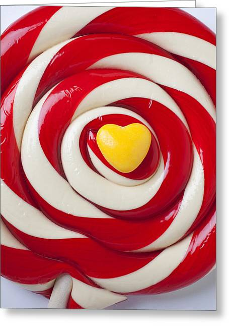 Yellow Candy Heart On Sucker Greeting Card by Garry Gay