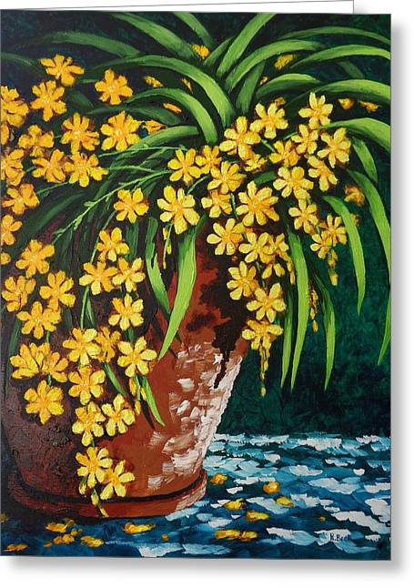 Greeting Card featuring the painting Yellow Cascade by Katherine Young-Beck
