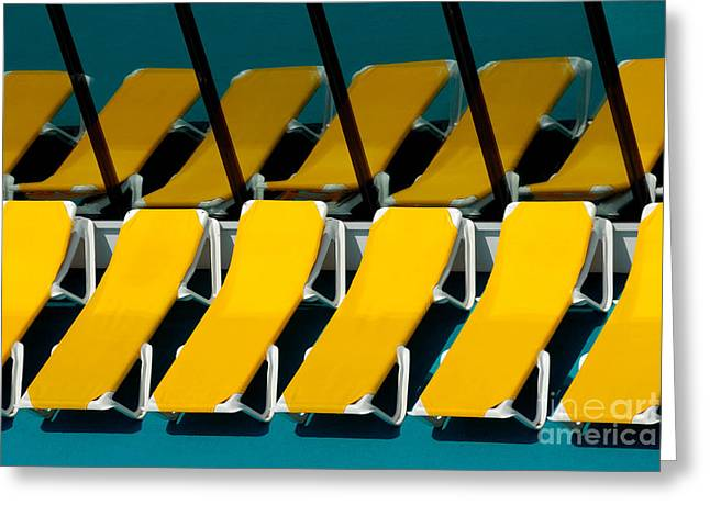 Yellow Chairs Reflected Greeting Card by Amy Cicconi