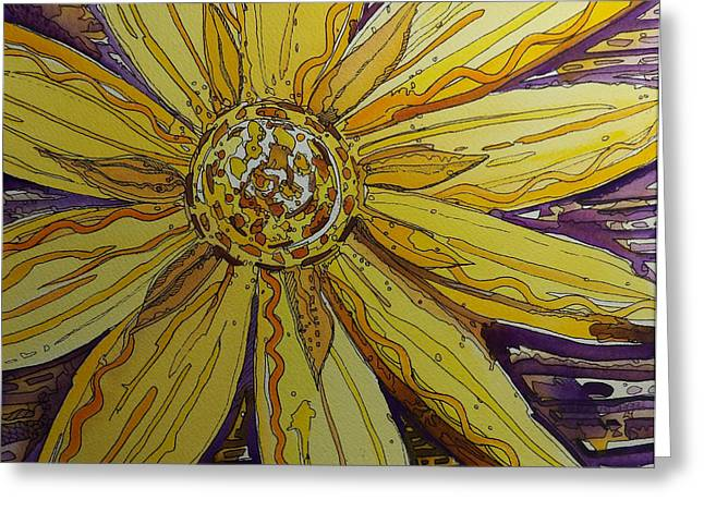 Yellow Chakra Greeting Card by Terry Holliday