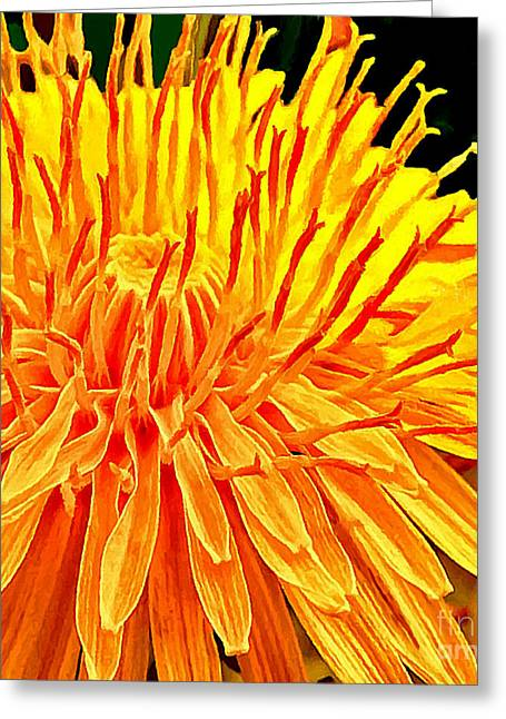Yellow Chrysanthemum Painting Greeting Card by Bob and Nadine Johnston