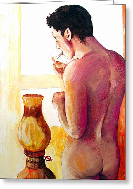 Greeting Card featuring the painting Yellow Cigarette  by Rene Capone