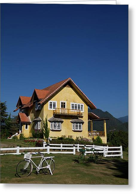 Yellow Classic House On Hill In Thailand  Greeting Card