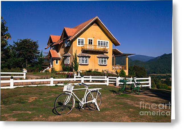 Greeting Card featuring the photograph Yellow Classic House On Hill by Tosporn Preede