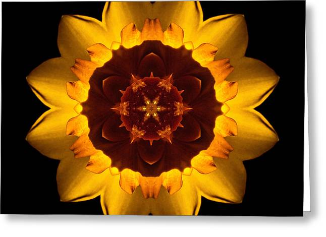 Yellow Daffodil I Flower Mandala Greeting Card