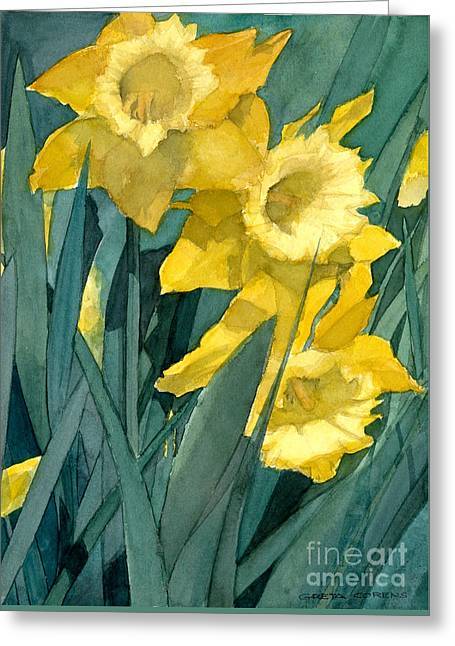 Watercolor Painting Of Blooming Yellow Daffodils Greeting Card