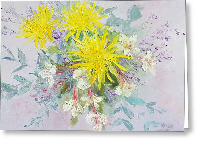 Yellow Dahlias And Peruvian Lilies Greeting Card by Jan Matson