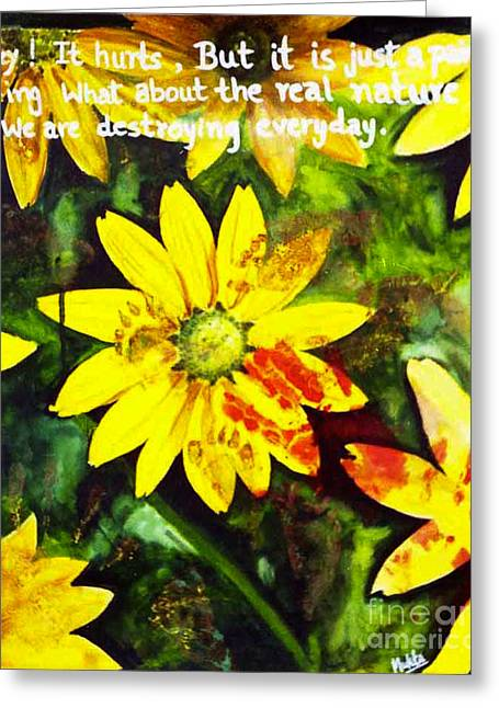 Greeting Card featuring the painting Yellow Daisies by Mukta Gupta