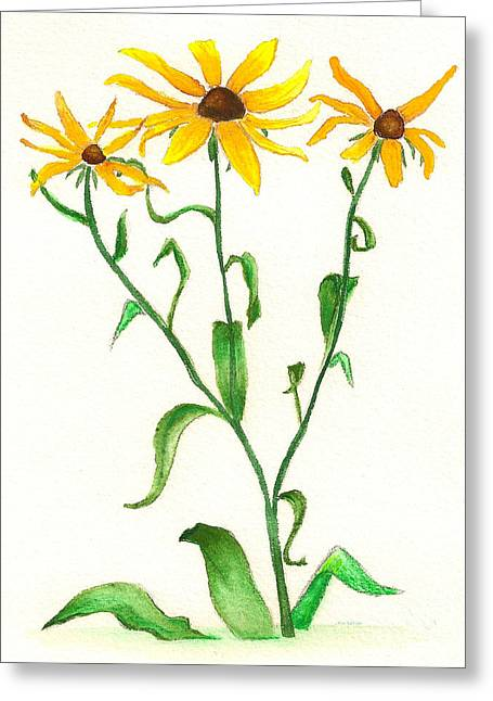 Greeting Card featuring the painting Yellow Daisies by Nan Wright