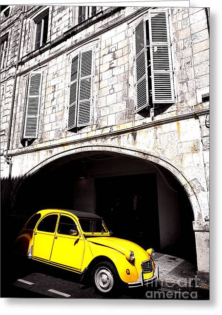 Yellow Deux Chevaux In Shadow Greeting Card by Olivier Le Queinec