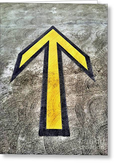 Yellow Directional Arrow On Pavement Greeting Card