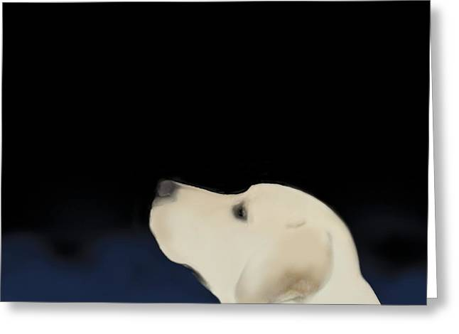Yellow Dog Profile Greeting Card by Marjorie Weiss