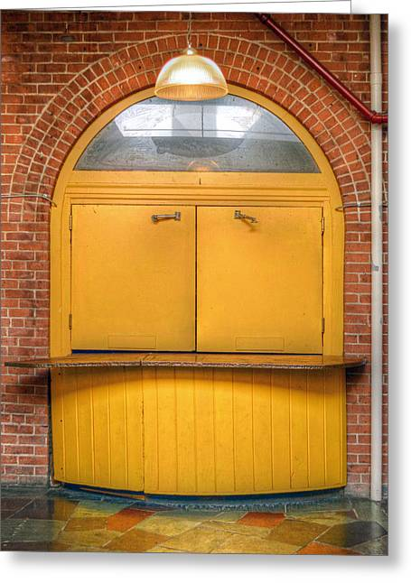 Yellow Door - Take Out Service Greeting Card by Geoffrey Coelho