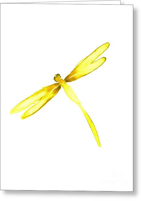 Yellow Dragonfly Greeting Card by Mariusz Szmerdt