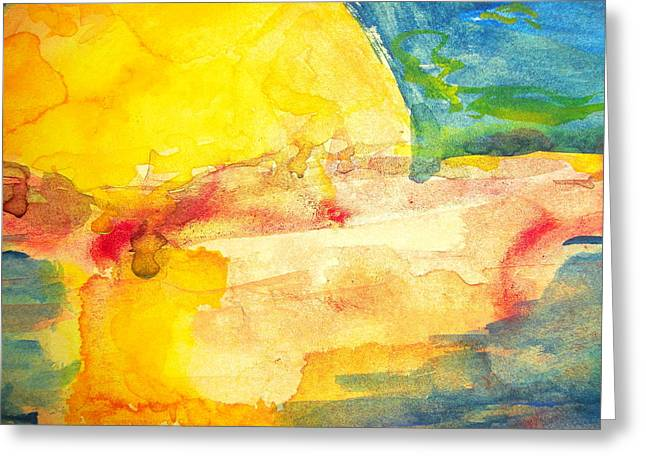 Yellow Explosion Greeting Card by Jacqueline Schreiber