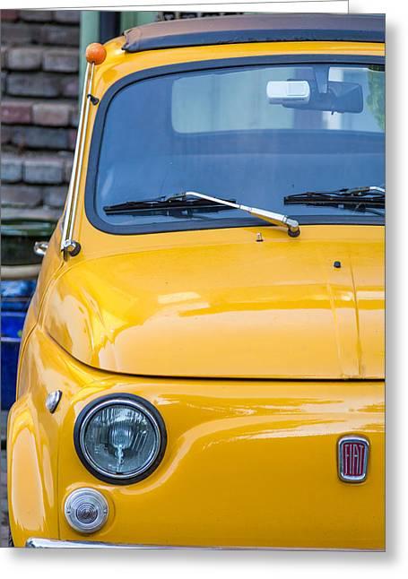 Yellow Fiat 500 1960s Model Greeting Card by Aldona Pivoriene