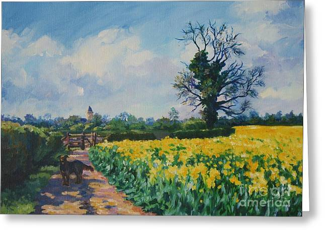Yellow Field And Rex Greeting Card by John Clark