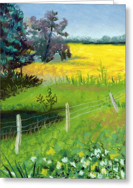 Yellow Field Greeting Card by Tanya Provines