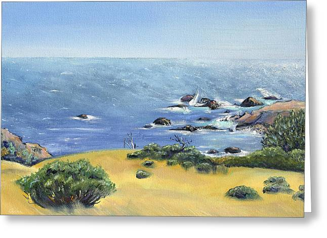 Greeting Card featuring the painting Yellow Fields And Silvery Summer Sea by Asha Carolyn Young