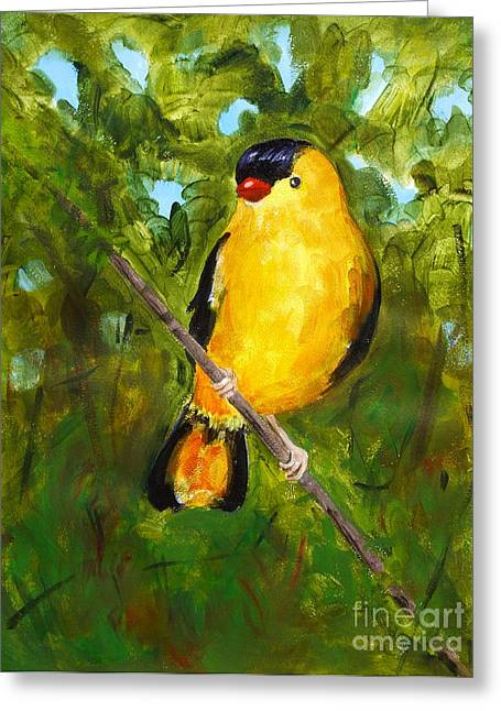 Yellow Finch Greeting Card by Valerie Lynch