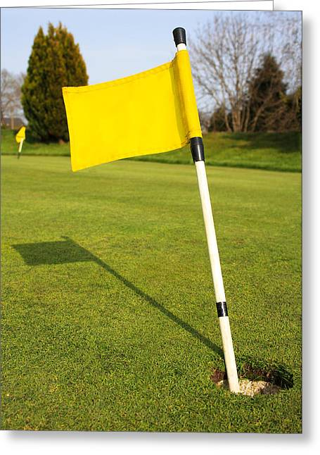 Yellow Flag On The Green Greeting Card by Semmick Photo
