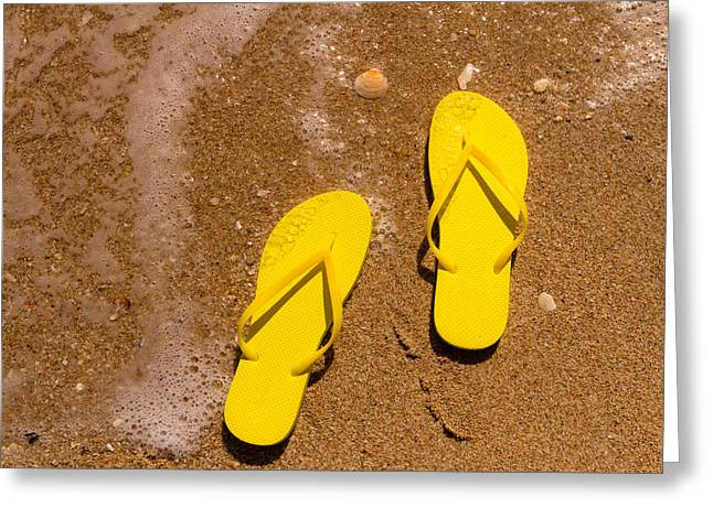 Yellow Flip Flops On The Beach Greeting Card