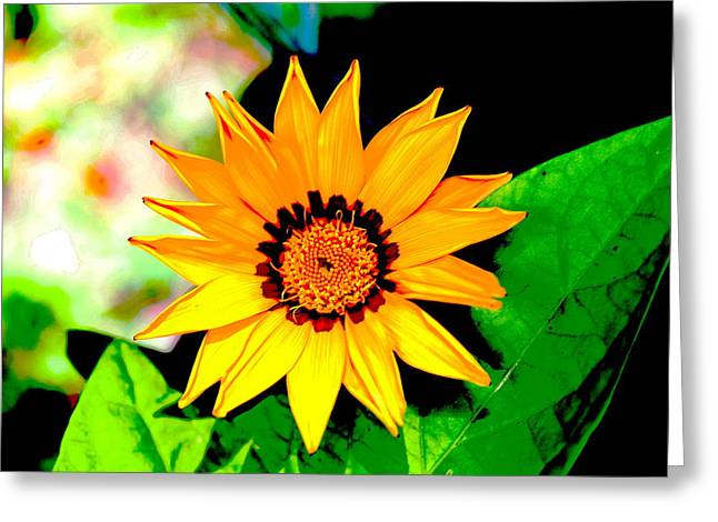 Yellow Flower Greeting Card by Carolyn Reinhart