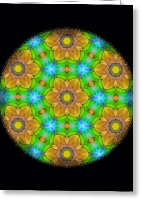 Yellow Flower Mandala Greeting Card by Karen Buford