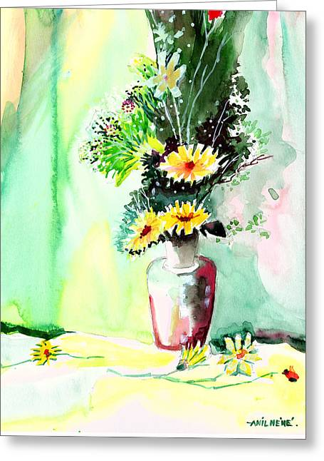 Yellow Flowers 1 Greeting Card by Anil Nene