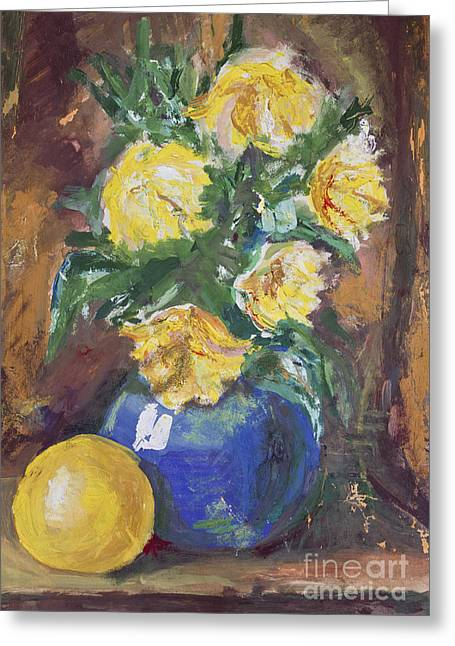 Yellow Flowers Bouquet Painting Greeting Card by Kiril Stanchev