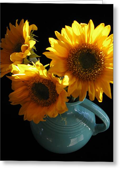 Greeting Card featuring the photograph Yellow Flowers In Fiesta Pitcher by Patricia Januszkiewicz