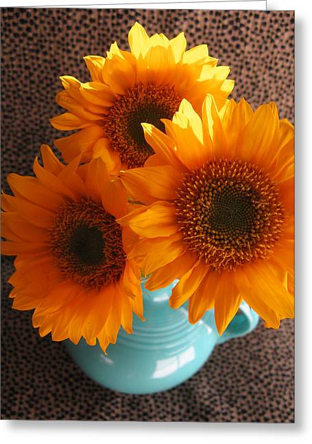 Yellow Flowers In Fiesta Ware Greeting Card