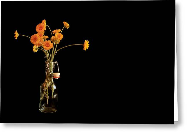 Orange Flowers On Black Background Greeting Card by Don Gradner