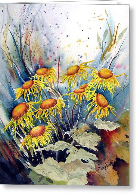 Yellow Flowers Greeting Card by Sam Sidders