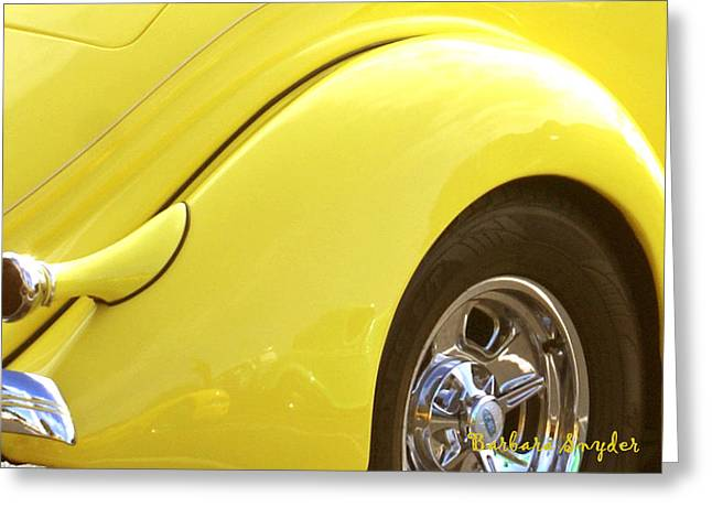Yellow Ford Greeting Card by Barbara Snyder