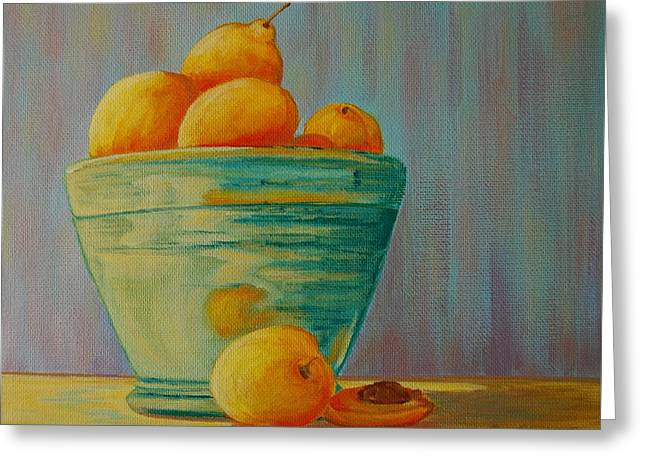 Yellow Fruit Blue Bowl Greeting Card